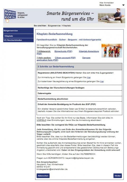 Online-KITA-Bedarfsanmeldung